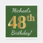 [ Thumbnail: Green, Faux Gold 48th Birthday + Custom Name Napkin ]
