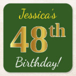 [ Thumbnail: Green, Faux Gold 48th Birthday + Custom Name Paper Coaster ]