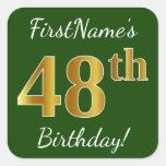 [ Thumbnail: Green, Faux Gold 48th Birthday + Custom Name Sticker ]