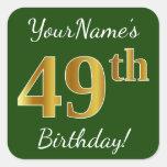 [ Thumbnail: Green, Faux Gold 49th Birthday + Custom Name Sticker ]