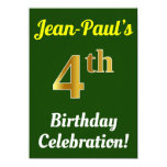 [ Thumbnail: Green, Faux Gold 4th Birthday Celebration + Name Invitation ]