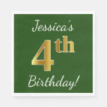 [ Thumbnail: Green, Faux Gold 4th Birthday + Custom Name Napkin ]