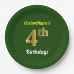[ Thumbnail: Green, Faux Gold 4th Birthday + Custom Name Paper Plate ]