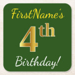 [ Thumbnail: Green, Faux Gold 4th Birthday + Custom Name Paper Coaster ]