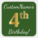[ Thumbnail: Green, Faux Gold 4th Birthday + Custom Name Sticker ]
