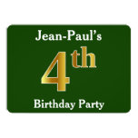 [ Thumbnail: Green, Faux Gold 4th Birthday Party + Custom Name Invitation ]