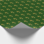 Hand shaped Green, Faux Gold 4th (Fourth) Event   Custom Names Wrapping Paper