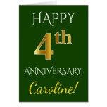 [ Thumbnail: Green, Faux Gold 4th Wedding Anniversary + Name Card ]