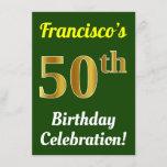 [ Thumbnail: Green, Faux Gold 50th Birthday Celebration + Name Invitation ]