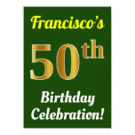 [ Thumbnail: Green, Faux Gold 50th Birthday Celebration + Name Invitation ]