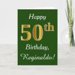 [ Thumbnail: Green, Faux Gold 50th Birthday + Custom Name Card ]