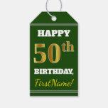 [ Thumbnail: Green, Faux Gold 50th Birthday + Custom Name Gift Tags ]