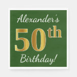 [ Thumbnail: Green, Faux Gold 50th Birthday + Custom Name Napkin ]