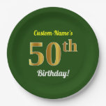 [ Thumbnail: Green, Faux Gold 50th Birthday + Custom Name Paper Plate ]