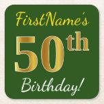 [ Thumbnail: Green, Faux Gold 50th Birthday + Custom Name Paper Coaster ]