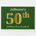 [ Thumbnail: Green, Faux Gold 50th Birthday Party + Custom Name Guest Book ]
