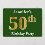 [ Thumbnail: Green, Faux Gold 50th Birthday Party + Custom Name Invitation ]