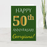 [ Thumbnail: Green, Faux Gold 50th Wedding Anniversary + Name Card ]
