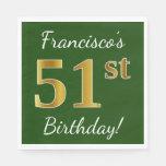 [ Thumbnail: Green, Faux Gold 51st Birthday + Custom Name Napkin ]