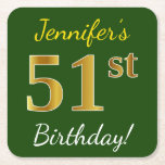 [ Thumbnail: Green, Faux Gold 51st Birthday + Custom Name Paper Coaster ]