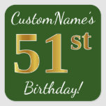 [ Thumbnail: Green, Faux Gold 51st Birthday + Custom Name Sticker ]