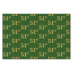 [ Thumbnail: Green, Faux Gold 51st (Fifty-First) Event Tissue Paper ]
