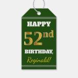[ Thumbnail: Green, Faux Gold 52nd Birthday + Custom Name Gift Tags ]