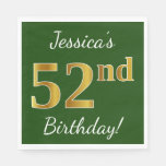 [ Thumbnail: Green, Faux Gold 52nd Birthday + Custom Name Napkin ]
