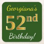 [ Thumbnail: Green, Faux Gold 52nd Birthday + Custom Name Paper Coaster ]