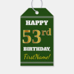 [ Thumbnail: Green, Faux Gold 53rd Birthday + Custom Name Gift Tags ]