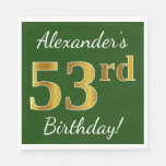 [ Thumbnail: Green, Faux Gold 53rd Birthday + Custom Name Napkin ]