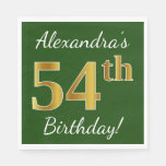 [ Thumbnail: Green, Faux Gold 54th Birthday + Custom Name Napkin ]