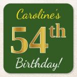 [ Thumbnail: Green, Faux Gold 54th Birthday + Custom Name Paper Coaster ]