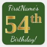[ Thumbnail: Green, Faux Gold 54th Birthday + Custom Name Sticker ]