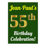 [ Thumbnail: Green, Faux Gold 55th Birthday Celebration + Name Invitation ]