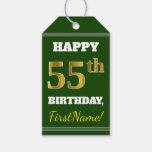 [ Thumbnail: Green, Faux Gold 55th Birthday + Custom Name Gift Tags ]