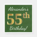 [ Thumbnail: Green, Faux Gold 55th Birthday + Custom Name Paper Napkin ]