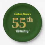 [ Thumbnail: Green, Faux Gold 55th Birthday + Custom Name Paper Plate ]