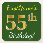 [ Thumbnail: Green, Faux Gold 55th Birthday + Custom Name Paper Coaster ]