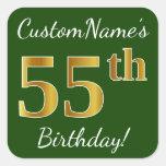[ Thumbnail: Green, Faux Gold 55th Birthday + Custom Name Sticker ]