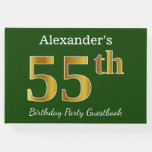[ Thumbnail: Green, Faux Gold 55th Birthday Party + Custom Name Guest Book ]