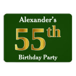 [ Thumbnail: Green, Faux Gold 55th Birthday Party + Custom Name Invitation ]