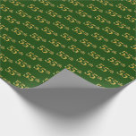 [ Thumbnail: Green, Faux Gold 55th (Fifty-Fifth) Event Wrapping Paper ]