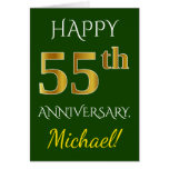 [ Thumbnail: Green, Faux Gold 55th Wedding Anniversary + Name Card ]