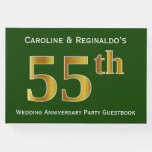 [ Thumbnail: Green, Faux Gold 55th Wedding Anniversary Party Guest Book ]