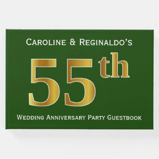 Green, Faux Gold 55th Wedding Anniversary Party Guest Book