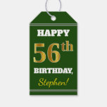 [ Thumbnail: Green, Faux Gold 56th Birthday + Custom Name Gift Tags ]