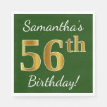 [ Thumbnail: Green, Faux Gold 56th Birthday + Custom Name Napkin ]