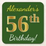 [ Thumbnail: Green, Faux Gold 56th Birthday + Custom Name Paper Coaster ]