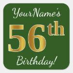 [ Thumbnail: Green, Faux Gold 56th Birthday + Custom Name Sticker ]